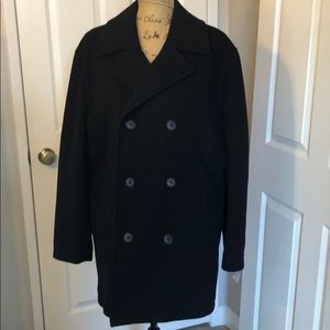 Men's Club room black wool double breasted coat M